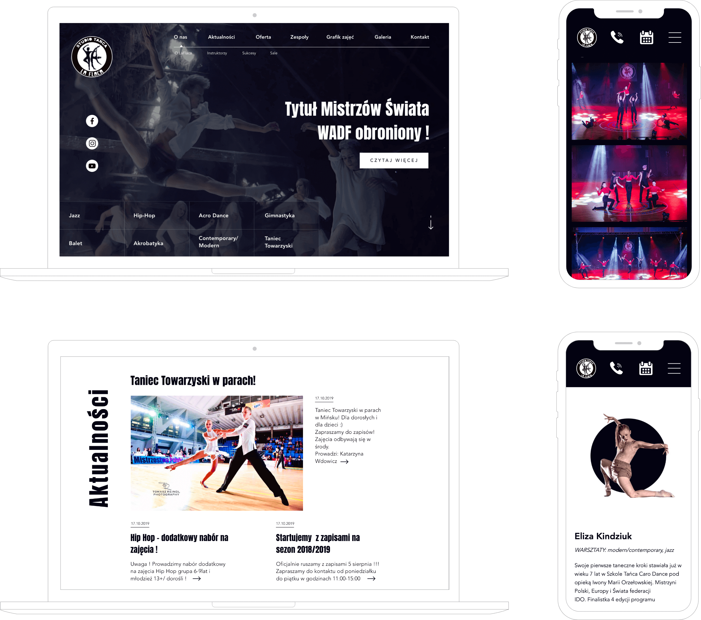 Portfolio strony Studia Tańca La Flaca